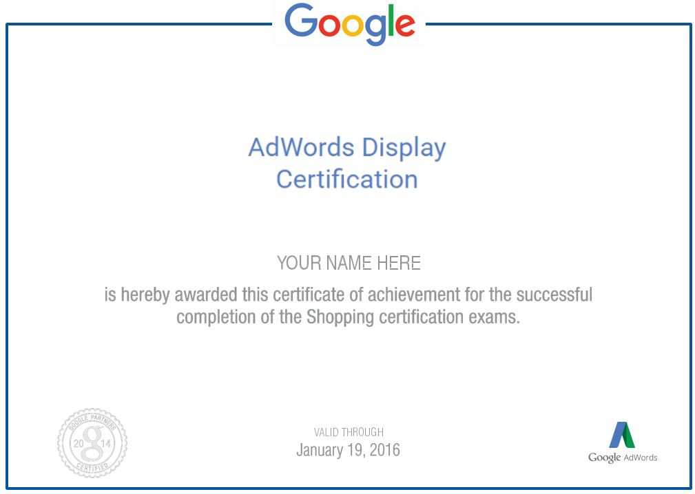 Google Adwords Display Advertising Certification