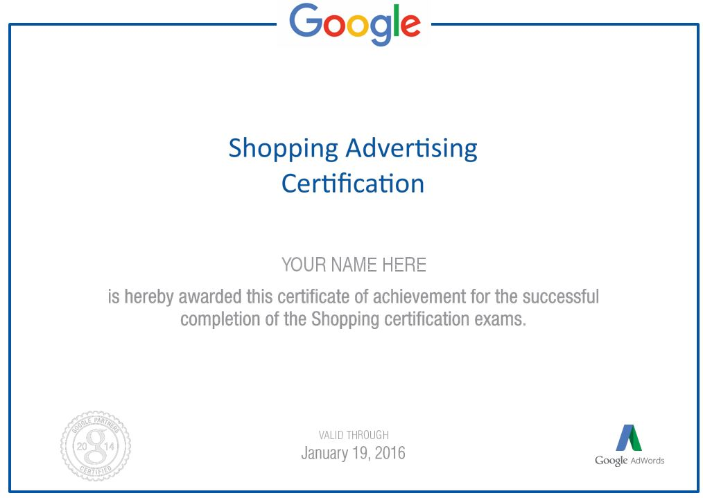 Google Adwords Shopping Advertising Certification