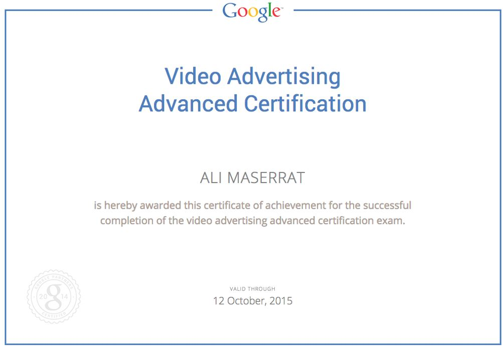 Google Adwords Video Advertising Certification