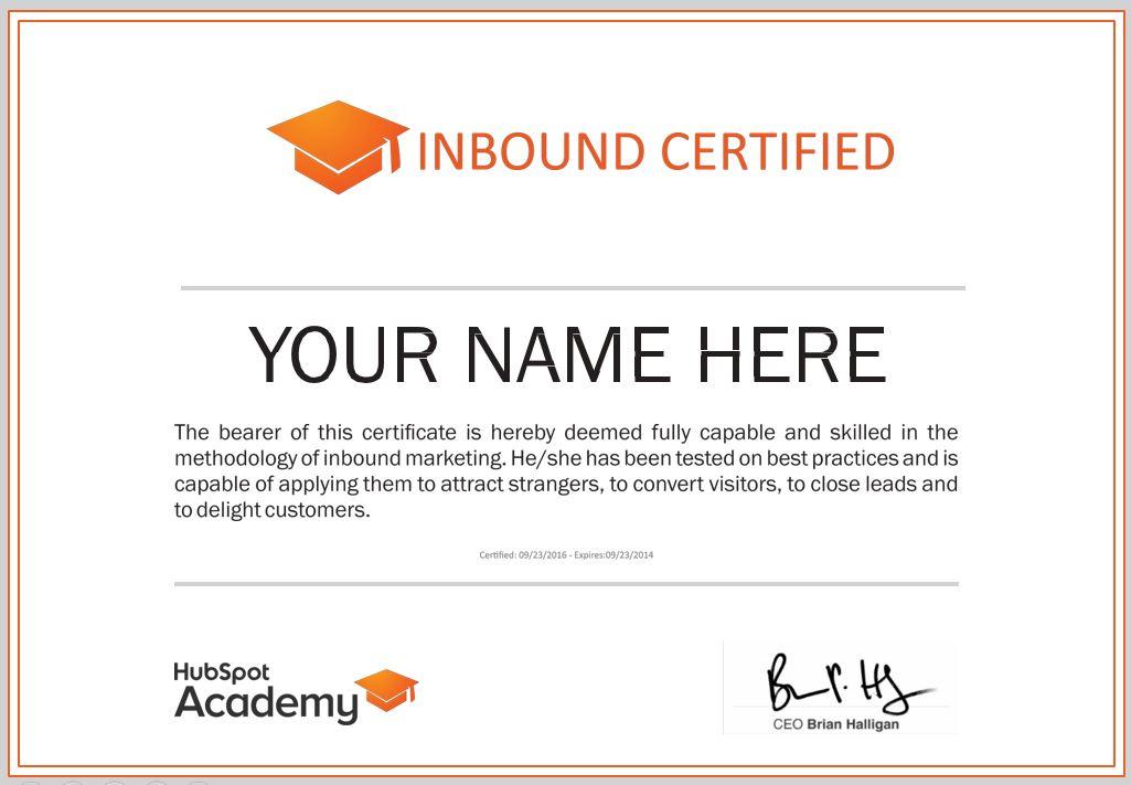 Inbound certified Hubspot Academy